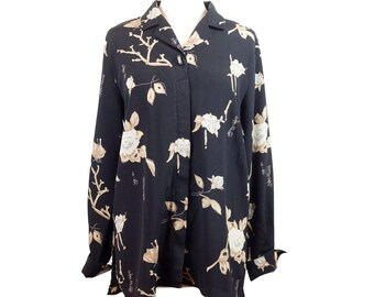90s Black Creme Japanese Floral Long Sleeve Blouse