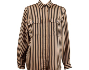 80s Camel Black Vertical Striped Long Sleeve Blouse