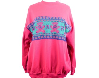 80s Hot Pink Teal Teddy Bear Crewneck Sweatshirt XL