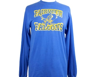 80s Blue Yellow Sports Team Graphic Long Sleeve T-Shirt M