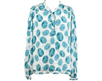 90s Teal White Renaissance Cameo Long Sleeve Blouse