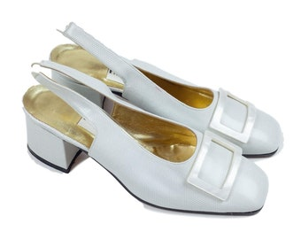 80s Pancaldi Off-White Leather Low Heel Sling Back Shoes 6B