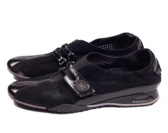 90s Cole Haan Black Suede and Patent Leather Slide On Casual Sneaker 8B