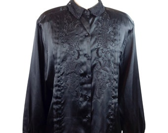 80s Lace Collar Floral Embroidered Black Long Sleeve Blouse
