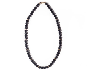 Vintage Black Gold Beaded Necklace