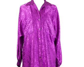 90s Tropical Silky Purple Long Sleeve Tunic Shirt Dress