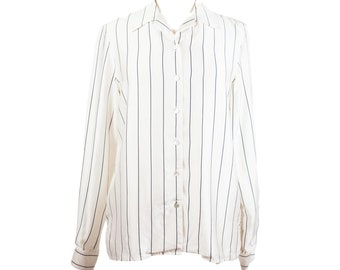 90s White Black Pinstripe Button Up Blouse 10