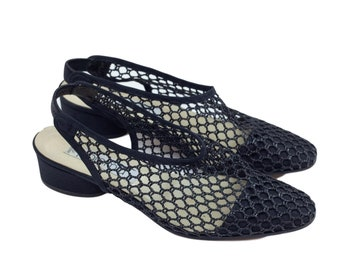 90s Paloma Black Woven Leather Slingback Heeled Sandals 7