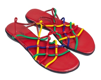 90s Red Primary Color Elastic Sandals Size 8