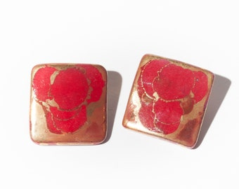 80s Red & Gold Square Ceramic Earrings