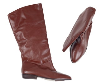 80s Naturalizer New Brown Leather Slouchy Boots 8