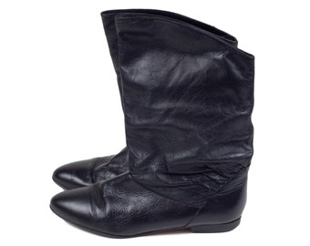 80s Mr Shoe Star Black Leather Slouchy Pirate Boots Size 7.5