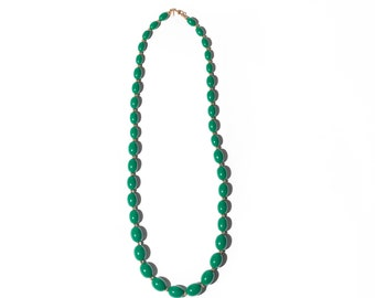 Vintage Green Gold Monet Beaded Necklace