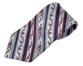 70s Light and Navy Blue Maroon Floral Polyester Tie