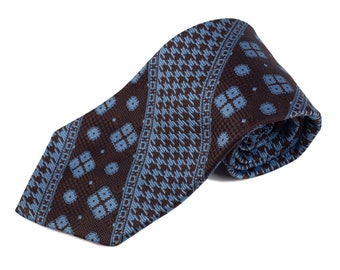 70s Brown Blue Houndstooth Polyester Tie