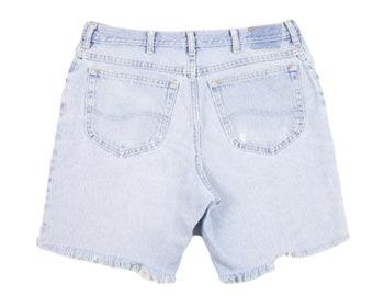 90s Lee Men's Light Wash Denim Cut-Off Jean Shorts