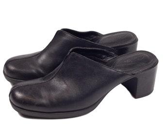 90s Clarke's Black Mules Clogs Comfy Sole Womens Shoes 7