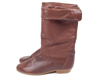 80s Dex Slouchy Brown Leather Pirate Boots 8 N
