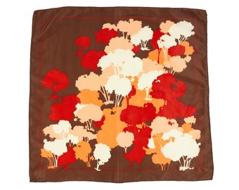 70s Nasharr Freres Brown Red Fall Autumn Trees Scarf