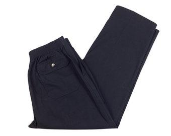 80s Honors Mens Black Elastic Waist Casual Pants M