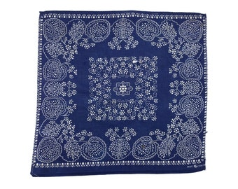 70s Fast Color Classic Navy Blue Floral Bandana