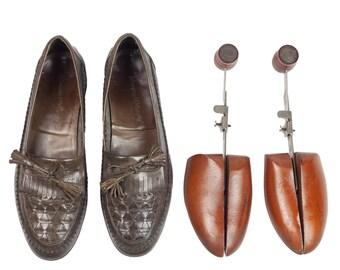 80s Johnston & Murphy Mens Olive Gray Tassel Men's Loafers 8.5 M