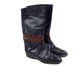 90s Soft Italian Leather Black Brown Riding Boots 8.5