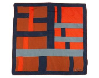 80s Vera Geometric Black Orange Brown Scarf