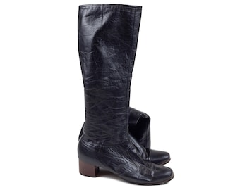 70s Cobbies Knee High Black Leather Boots 7 N