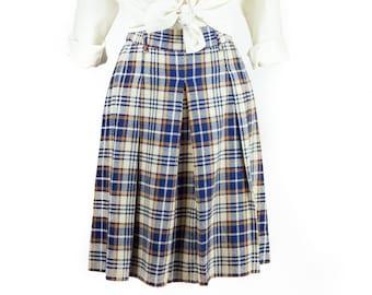 60s 70s Navy Orange Plaid Pleated Skirt