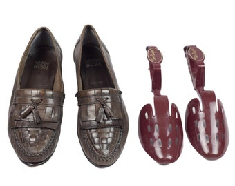 80s Nunn Bush Olive Gray Tassel Loafers with Shoe Trees 8.5 M