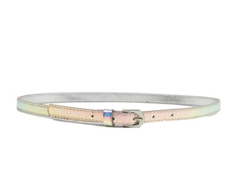 00s Girls Size 10 Thin Holographic Silver Belt
