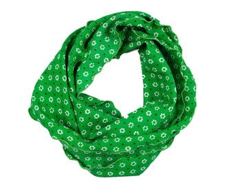60s Green White Floral Scarf