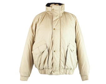 80s Haband Beige Tan Navy Coat Heavy Coat L