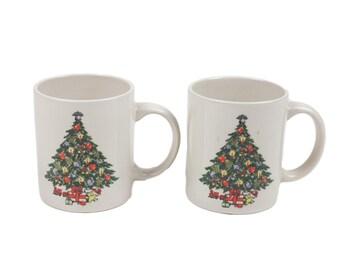 60s Set of 2 Christmas Tree Ceramic Coffee Mugs 10 oz