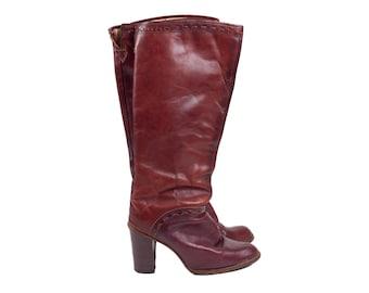70s Zodiac Boho Cherry Brown Leather Boots 7 / 7.5 N