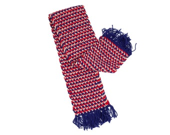 60s Navy Blue & Red Handmade Unisex Scarf