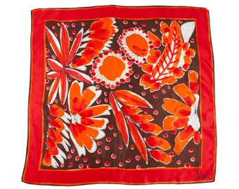 70s Vera Red Brown White Floral Silk Scarf