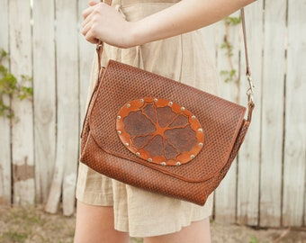 80s Tooled Brown Leather Purse with Metal Brads