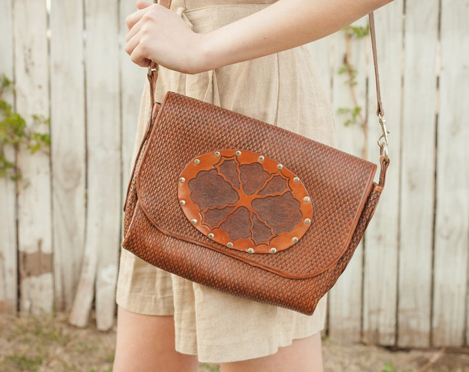 Featured listing image: 80s Tooled Brown Leather Purse with Metal Brads