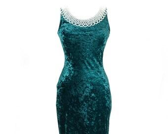 90s Dark Green Velvet Dress