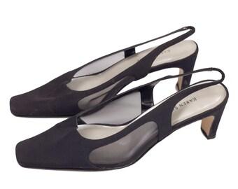 90s Karen Scott Black Mesh Slingback Shoes 8.5M