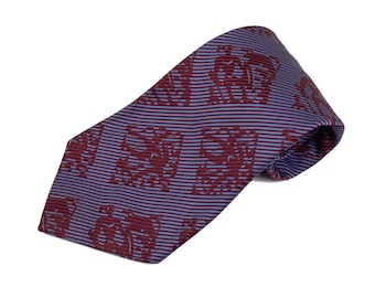 70s Maroon Blue Wide Polyester Tie