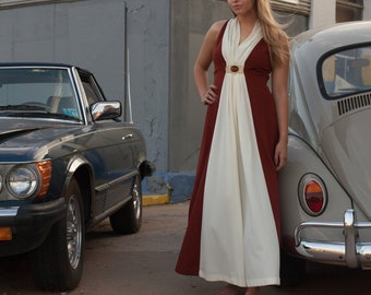 60s Union Made Long Brown Off White Dress