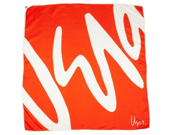 80S Vera Red Orange White Signature Silk Scarf