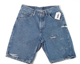 Distressed Wrangler Relaxed Fit Denim Jean Shorts