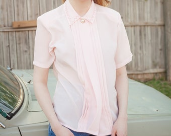 80s Light Pink Collared Blouse