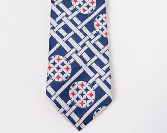 60s Navy Blue Red & White Polyester Necktie