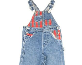 90s Jordache Kids Red Plaid Denim Overalls 5 / 5T