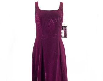 Burgundy Crushed Velvet Gown Dress
